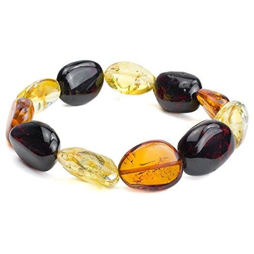 Noda Bague Ambre multicolore FreeShape Bracelet élastique avec perles 17,5cm