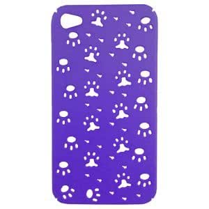 Apple iPhone 4, 4S Snap On Protective Case, Purple with Footprint Pattern