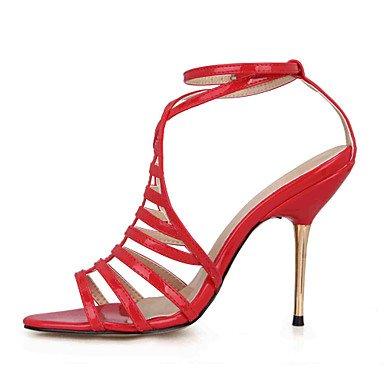 LvYuan Mujer-Tacón Stiletto-Confort-Sandalias-Boda Vestido Fiesta y Noche-PU-Negro Rojo Black