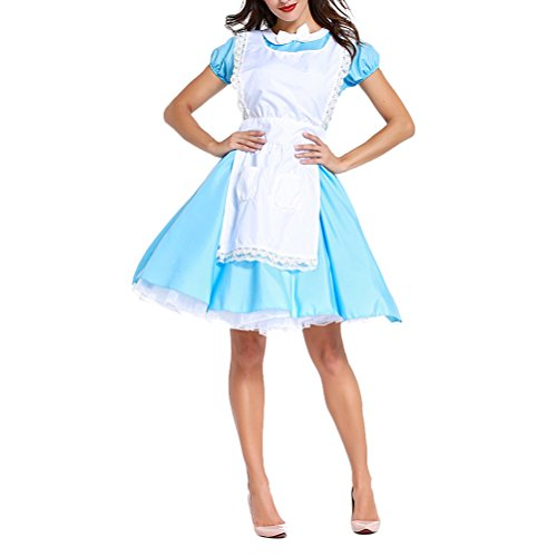 Comprende Gonna Adulto Donne Halloween Cosplay Di Blu Classico Grembiule Costumi Insieme Zhuhaijq Copricapo T8qAHA