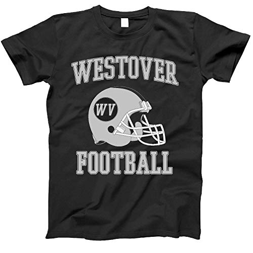 4INK Vintage Football City Westover Shirt for State West Virginia with WV on Retro Helmet Style Black Size ()
