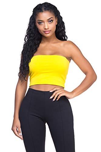 Women's J2 Love Cotton Tube Crop Top, X-Small, Yellow