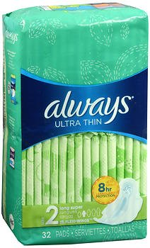 Always Ultra Thin Pads Long Super Flexi-Wings - 6 packs of 32, Pack of 5