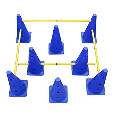 MiMu   Hurdle Cone Set – Training Cones and Agility Poles – Adjustable Agility Ladder Speed Training Equipment for Pets