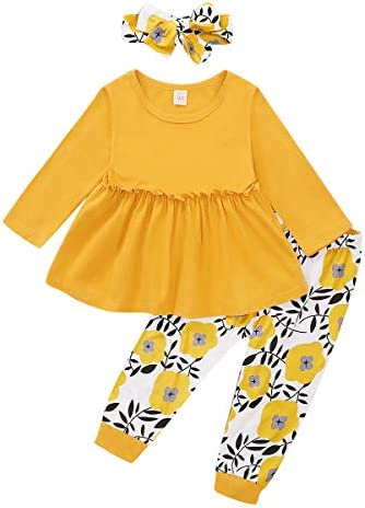 Kids Little Toddler Baby Girls Fall Outfit Ruffled Long Sleeve Floral Dress Shirt Tops Lace Pants Winter Clothes Set