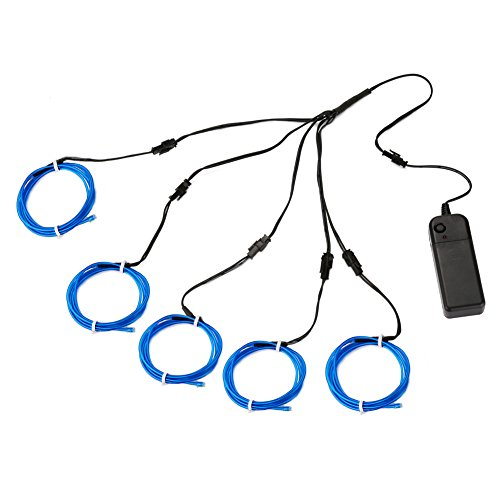 Accmor 5 x 1m/3ft EL Wire Kit, Super Bright Neon Light Glowing Electroluminescent Wire Light with Battery Pack - Perfect for Christmas, Party, DIY, Cosplay (Blue) (Strobe Light Slow Motion compare prices)
