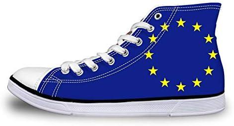 Canvas High Top Sneaker Zapato de skate casual Hombres Mujeres Unión Europea Bandera de la UE