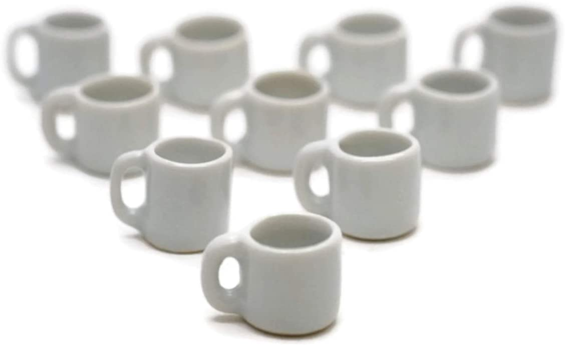 10 White Coffee Mug Tea Cup Big Size Dollhouse Miniatures Food Kitchen Cool Price