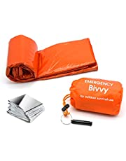Emergency Sleeping Bag Survival Bivy Sack Emergency Space Blanket, Lightweight Sleeping Bag, Survival Gear for Outdoor, Hiking, Camping Includes Nylon Sack with Survival Whistle +Emergency blanket