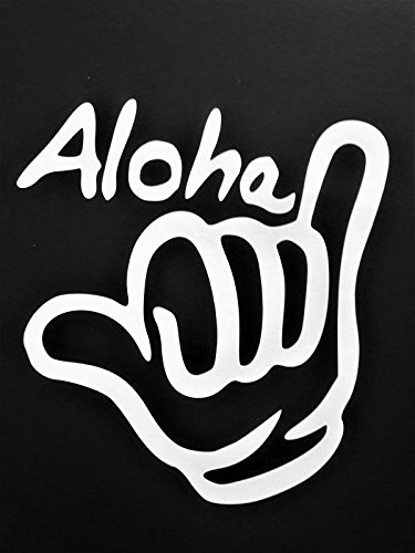 Hawaii Shaka Sign Surf Surfing Vinyl Decal Sticker|WHITE|Cars Trucks Vans SUV Laptops Wall Art|5.5