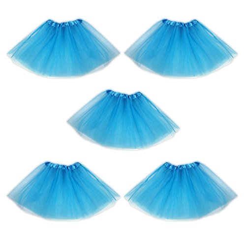Tutu Ballet Skirt, Bulk 5 Pack, Princess Party Costume Favors (Light Blue) -