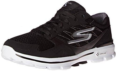 Skechers Performance Men's Go Walk 3 Compete Lace-Up Walking Shoe, Black/White, 10 M US