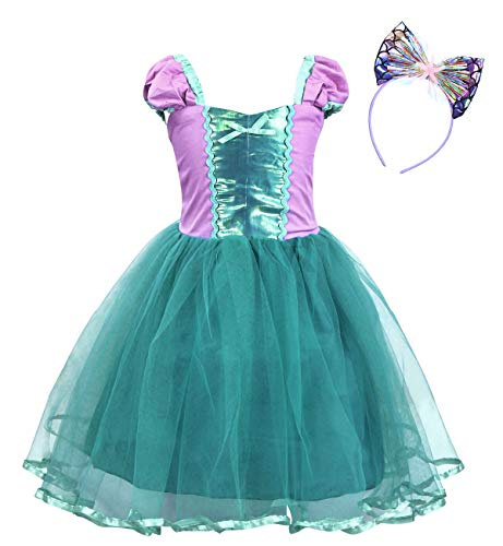 Jurebecia Girls Little Mermaid Dress for Halloween Costume