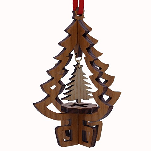 Wooden Christmas Tree Charm Ornament - Gift Boxed made in New Hampshire