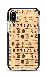 Stylizedd iPhone XS/X Cover Impact Pro Black Military Grade Shockproof Case - Tribal Hieroglyphics Full