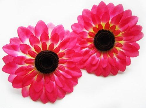 ((12) Silk Hot Pink Big Sunflowers sun Flower Heads , Gerber Daisies - 5.5