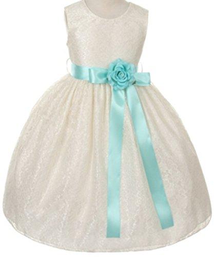 Ivory Custom 2 Ribbon - Little Girls Ivory Dress Lace Custom Ribbon Flowers Girls Dresses Aqua 2