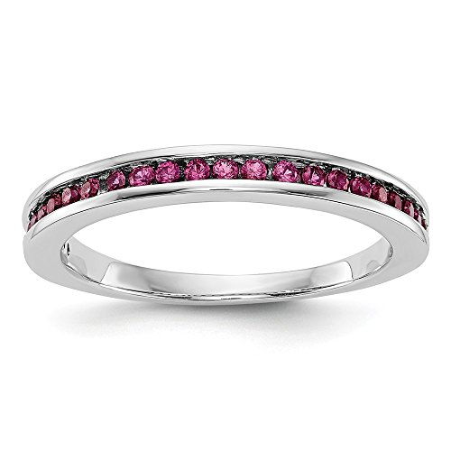 JewelrySuperMart Collection 14k White Gold Channel Set Created Ruby Ring. Sizes 6-8.
