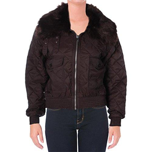 Lauren by Ralph Lauren Womens Denetty Quilted Faux Fur Basic Coat Brown - Lauren Ralph Women Cheap
