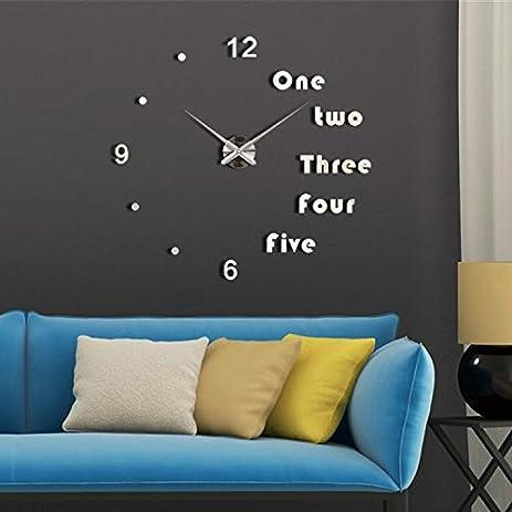 Amazoncom WALL CLOCK 3D WHITE Frameless Large Stickers Clocks