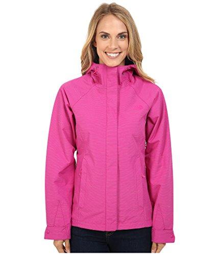 The North Face Women's Novelty Venture Hooded Rain Jacket Fuschia Pink Stripe (Medium)