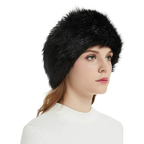Faux Fur Headbands Outdoor Ear Warmers Earmuffs Ski Hat Winter Warm Elastic Hairbands Head Wraps for Women by Aurya(Black) - Fur Winter Headband