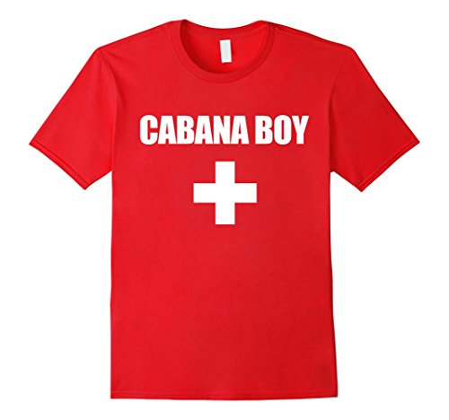 Mens Life Guard Cabana Boy Funny Red White Official Swim Shirt Large Red (Lifeguard Costume Funny)