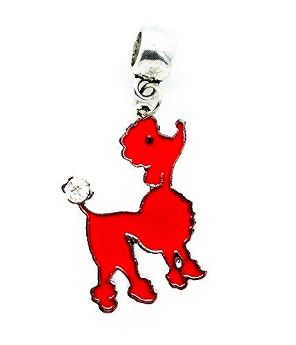 RED DOG POODLE MALTESE SHIH TZU GROOMER CHARM SLIDER PENDANT ADD TO YOUR NECKLACE, EUROPEAN BRACELET, DIY, ETC.