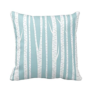 Birch Trees Blue Square Throw Pillow Case Custom Cushion Cover Cotton Polyester 18x18