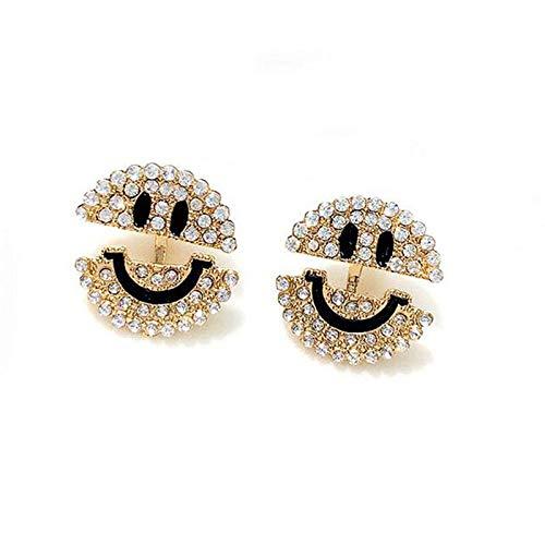 1set Women Lady Crystal Rhinestone Smile Korean Style Ear Stud Earrings Jewelry