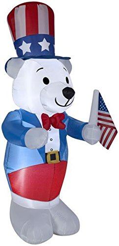 Gemmy 4' White Fourth of July Bear Spring Inflatable