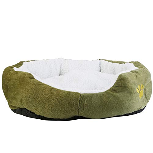 TeqHome Small Dog Bed, Puppy Orthopedic Kennel Soft Pet Warming Beds Cat Cushion, Washable, Lamb Cashmere-Grey -