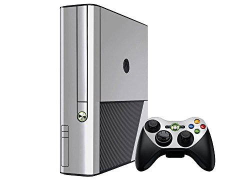 (Microsoft Xbox 360 Skin (360E) (3rd Gen) - NEW - SILVER CHROME MIRROR system skins faceplate decal mod)