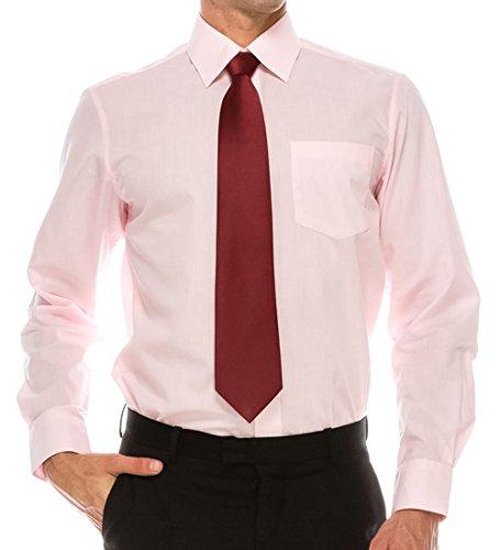 Volcan Mens Regular Fit Dress Shirt w/Reversible Cuff, 17 (Pink, L-16-32)