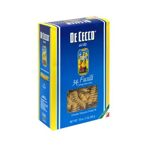 Fusilli Pasta #34 16 Ounces (Case of 20) by De Cecco