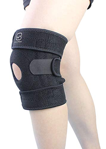 (VEGAMONT Meniscus Knee Brace - Open Patella Stabilizing Compression Support Tendonitis, Meniscus Tear, Arthritis Pain Ideal for Medical/Sports Like Running,Tennis, Weightlifting for Man and Women)