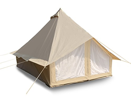 Dream House Big All Weather 4-6 Person Cotton Canvas Family Camping Tent (Beige Cotton Canvas Tent)
