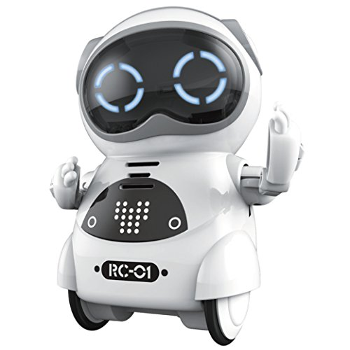 Haite Mini Robot, Pocket Robot for Kids with Interactive Dialogue Conversation, Voice Recognition, Chat Record, Singing& Dancing, White