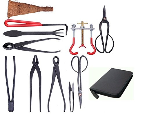 U-nitt 11-pc Bonsai Tool Set Carbon Steel Cutters Scissors Shears for Trimming Pruning: with Nylon Case