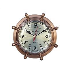 Hampton Nautical Antique Brass Double Dial Porthole Wheel Clock, 8