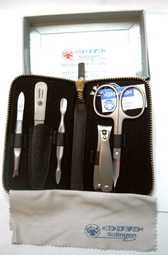 Stainless Steel Mens Grooming Set in Black Leather Case by Dovo. Made in Solingen, Germany by Dovo