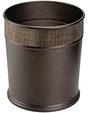 mDesign Decorative Round Small Trash Can Wastebasket Garbage Container Bin for Bathrooms Powder Rooms Kitchens Home Offices - Steel in Bronze Finish with Woven Textured Accent