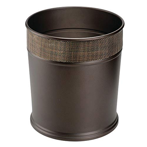 - mDesign Decorative Round Small Trash Can Wastebasket, Garbage Container Bin for Bathrooms, Powder Rooms, Kitchens, Home Offices - Steel in Bronze Finish with Woven Textured Accent