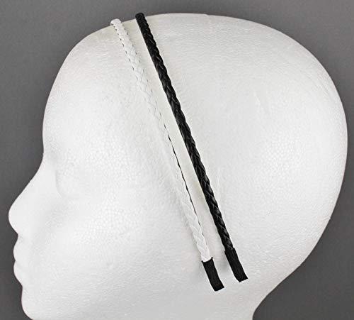 Black White Headband Set 2 Braid Faux Leather Braided Hair Band Skinny Narrow Girls Headbands For Women
