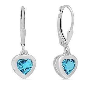 Swiss Blue Topaz Heart Dangle Earrings in Sterling Silver lever-Backs