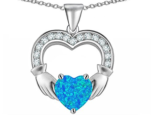 Star K Hands Holding 8mm Heart Claddagh Pendant Necklace with Blue Created Opal Sterling Silver