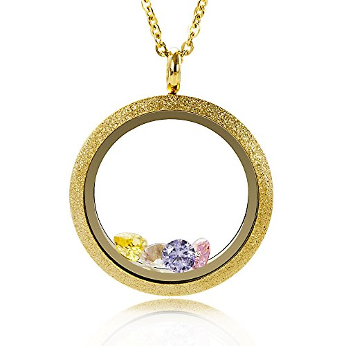 EVERLEAD Living Floating Memory Locket Pendant Necklace Sparkle Gold Vacuum Plating Twist Stainless Steel Gold Twist Pendant