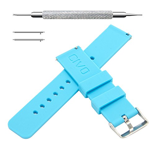CIVO Quick Release Silicone Watch Bands Soft Rubber Watch Strap Smart Watch Band Stainless Steel Buckle 18mm 20mm 22mm (Light Blue, 18mm)