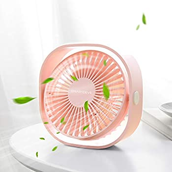 SmartDevil Small Personal USB Desk Fan,3 Speeds Portable Desktop Table Cooling Fan Powered by USB,Strong Wind,Quiet Operation,for Home Office Car Outdoor Travel (Cherry Pink)
