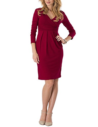 Ourlove Fashion Womens Knee Length Long Sleeve Empire Dress Ruched Waist Classy V-Neck Casual Cocktail Dress (XL, (Ruched Empire Cocktail)